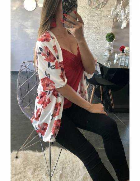 """Mon gilet kimono blanc """"fleurs rouges"""""""