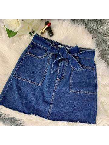 Ma jolie jupe en jeans ceinture à nouer