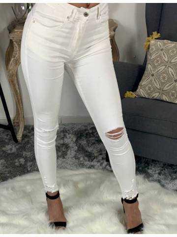 """Pantalon blanc skinny taille haute """"genou déchirés"""" 2"""