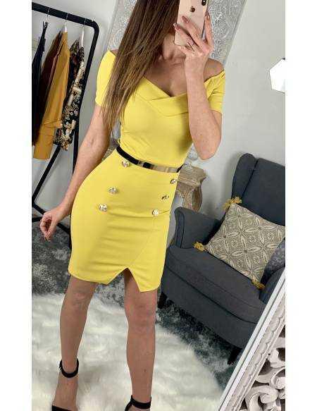 "Ma jolie robe moutarde ""boutons et sa ceinture"""