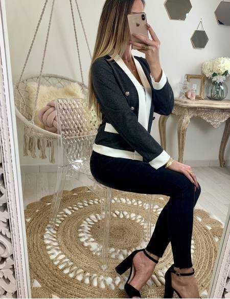 Petite veste droite grise foncé