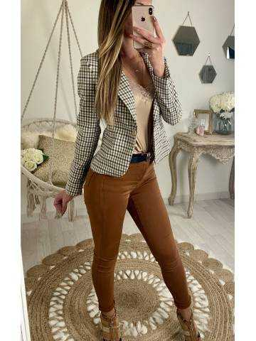 "Mon joli blazer beige/camel ""petits carreaux"" 2"