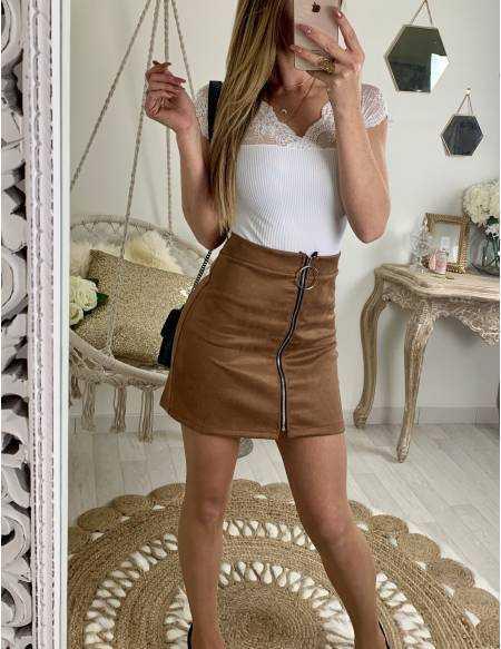 "Ma petite jupe style daim camel ""zippée"""