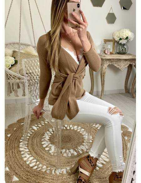 Mon pull beige caramel mi-long
