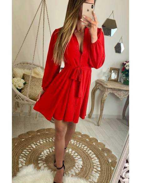 """Ma robe rouge chemisier """"coup de coeur et nouée"""""""