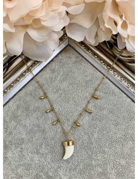 "Mon collier court gold ""jolie corne blanche"""