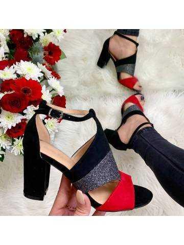 Mes sandales black/red