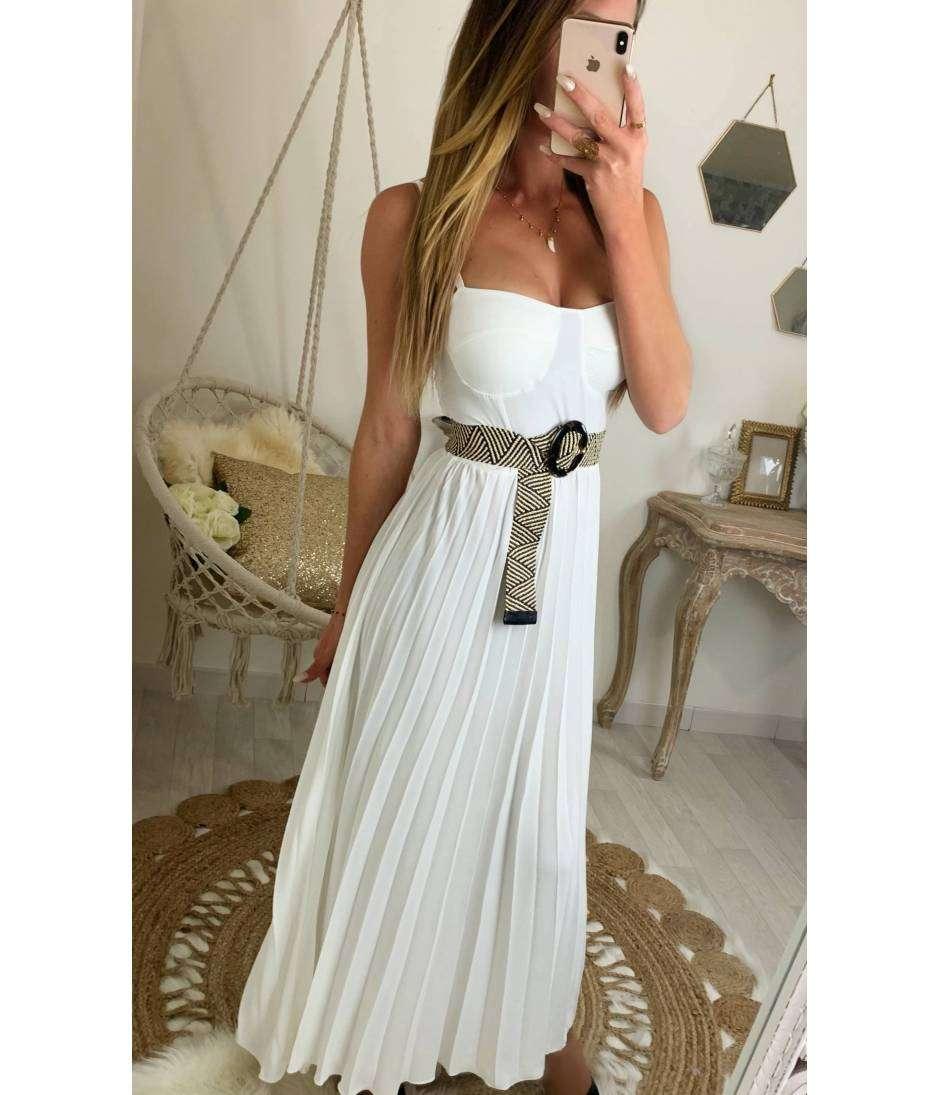 820512a4dc7 Ma jolie robe longue blanche et plissée et bustier - MyLookFéminin ...