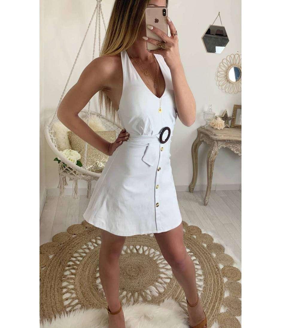 b696f1ca488 Ma robe blanche dos nu et ceinture à boucle - MyLookFéminin
