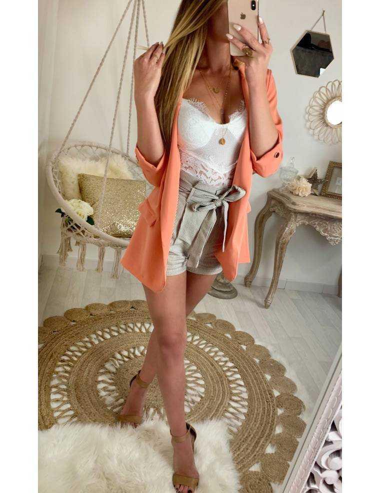 8db743261cf Mon short beige taille haute et fines rayures - MyLookFéminin