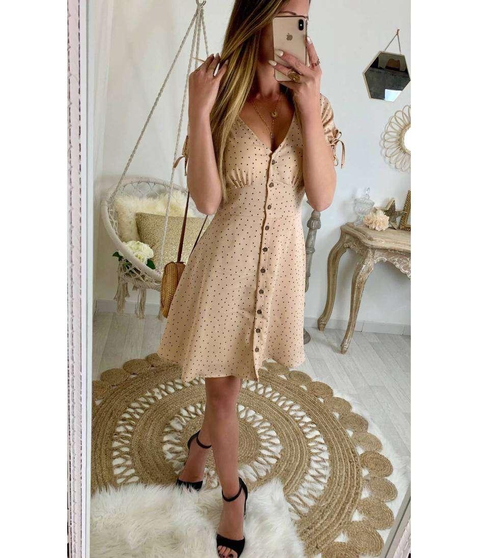 Ma jolie robe beige nude boutonnée