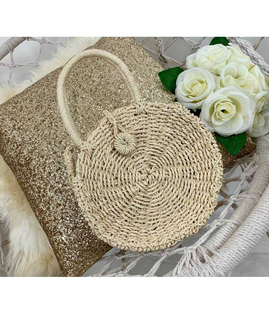 "Mon petit sac rond basic ""beige naturel"""