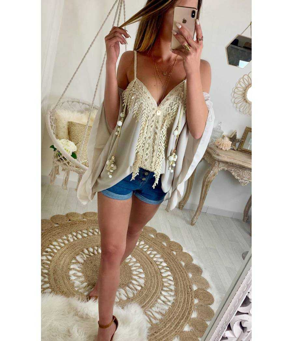 "Ma jolie blouse ample beige ""Coachella"""