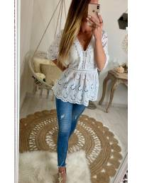 """Ma jolie blouse blanche ample et broderies """"manches 3/4"""""""