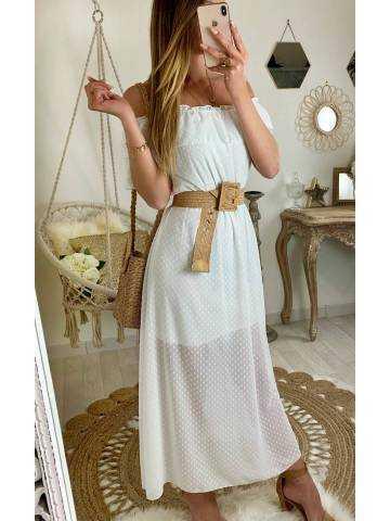 """Ma jolie robe blanche et plumetis """"porté épaules"""""""