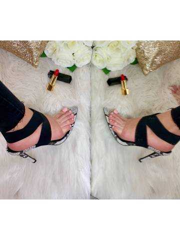 Sandales à talon black python