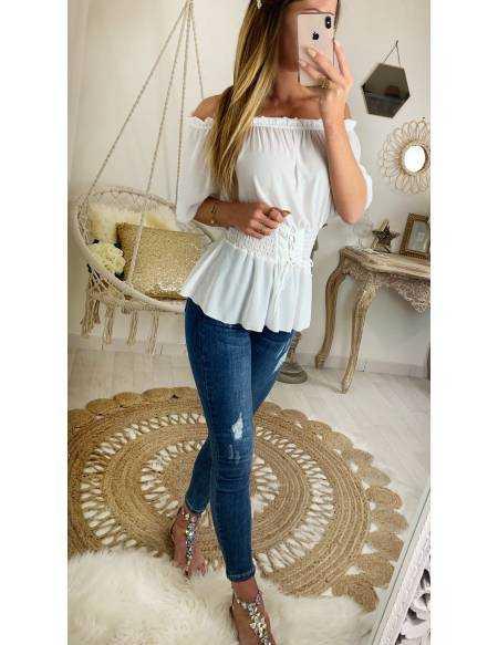 """Ma jolie blouse kaki et dentelle blanche """"porté épaules"""""""