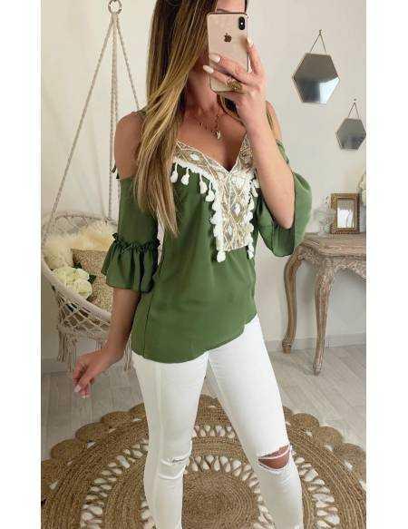 """Ma blouse kaki """"pompons et sequins"""""""