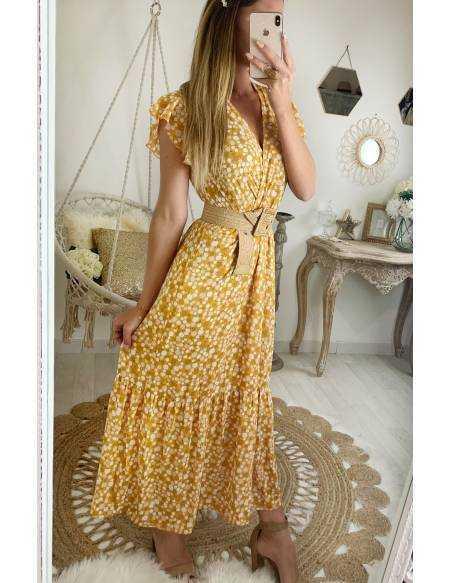 Ma jolie robe longue moutarde et imprimé