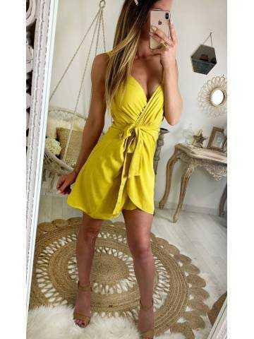 """Ma jolie robe jaune/moutarde bretelles """"drapée et nouée"""""""
