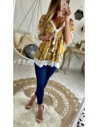 """Ma jolie blouse ample """"moutarde fleuri et dentelle"""""""