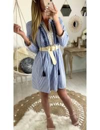 "Ma jolie robe ample ""fines rayures bleues et plastron"""