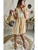 "Ma jolie robe ample ""fines rayures moutarde et plastron"""