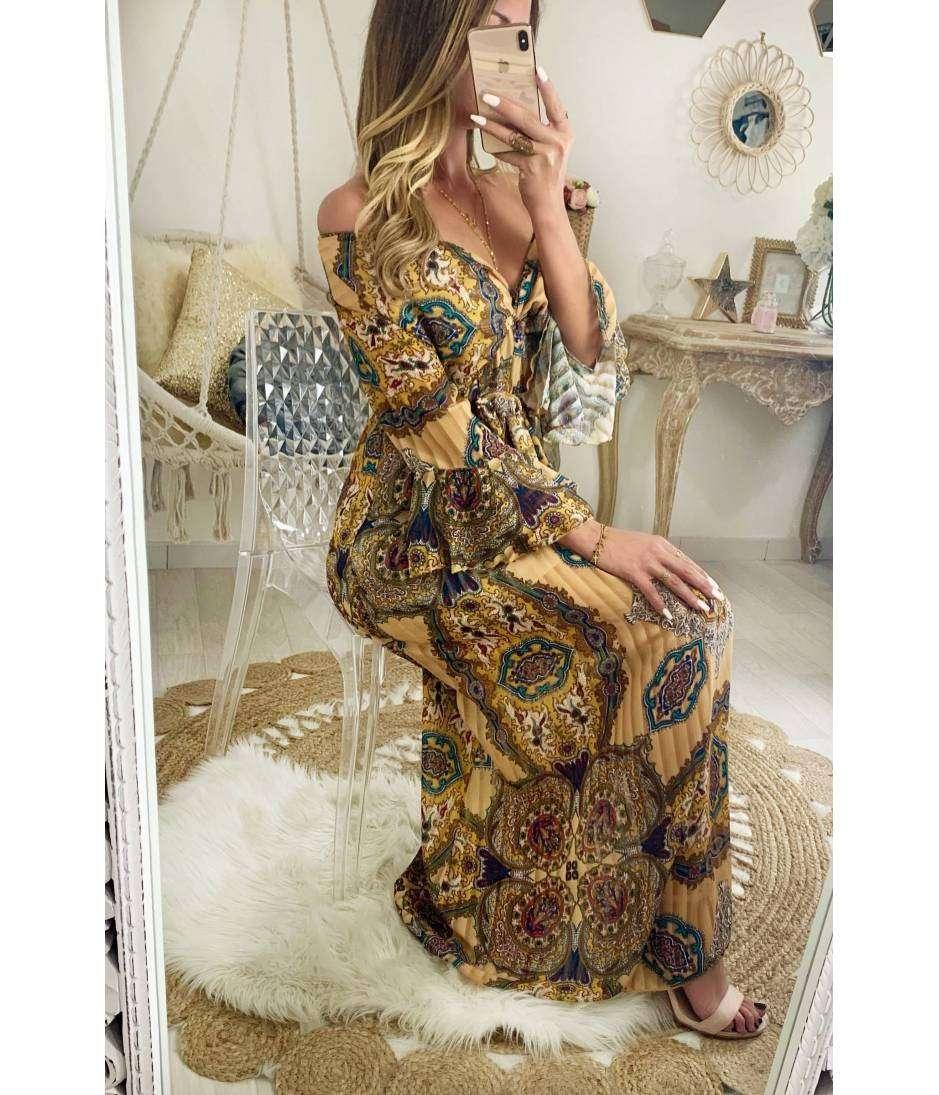 Ma jolie robe longue beige lumineux et imprimé