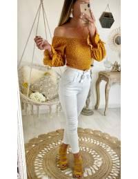 "Ma jolie blouse moutarde et pois blancs ""smokée"""