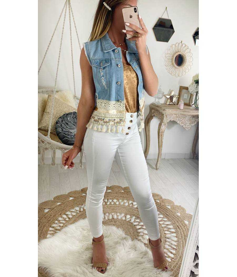 """mon joli gilet en jeans """"pompons et sequins"""""""