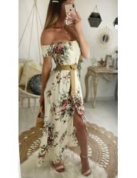 """Ma jolie robe longue beige fleuri """"bustier"""""""