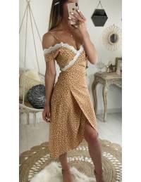 """Ma jolie robe mi-longue cache coeur """"caramel imprimé et dentelle"""""""