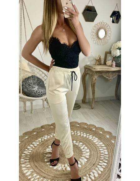 """Pantalon large beige sable """"plissé"""""""