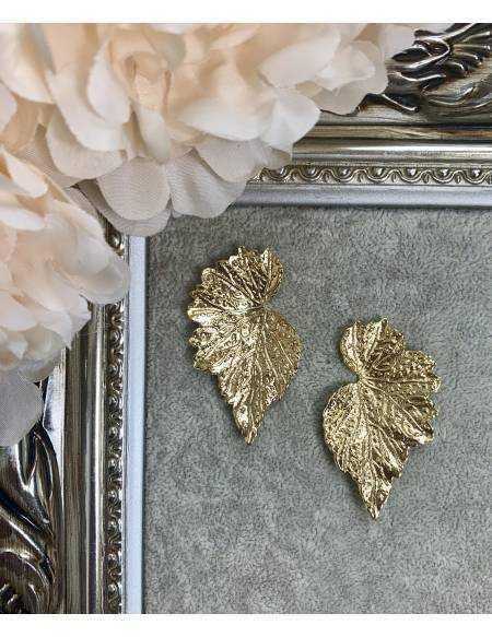 """Mes boucles d'oreilles en métal doré """"jolie feuille"""""""
