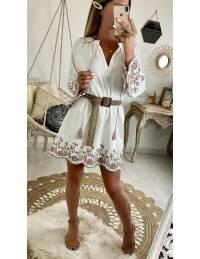 "Ma jolie robe ample ""blanc cassé et broderies taupe"""