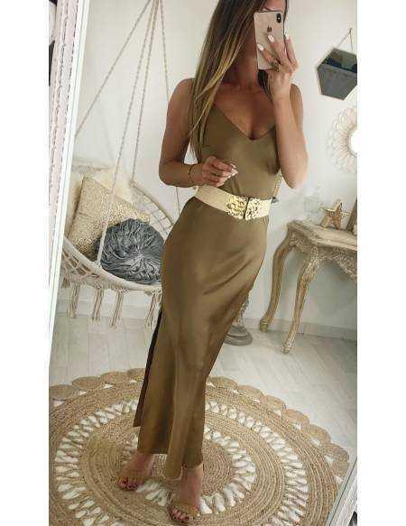 Ma jolie robe longue camel satinée basic
