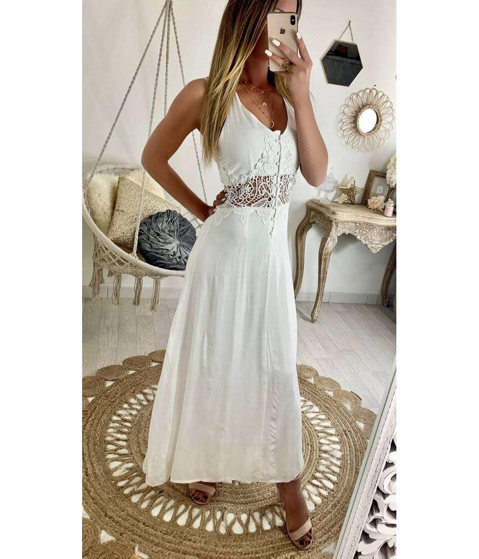 """Ma jolie robe longue cache coeur """"camel et fines fleures"""""""