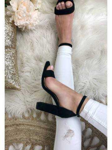 Mes jolies sandales à talon style daim black