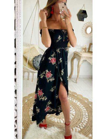 a9121fc0aaf Ma jolie robe longue black fleuri
