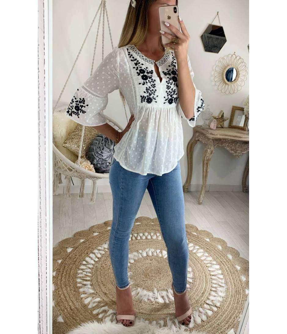 prix imbattable original à chaud dernière vente Ma jolie blouse blanche plumetis et broderies bleues