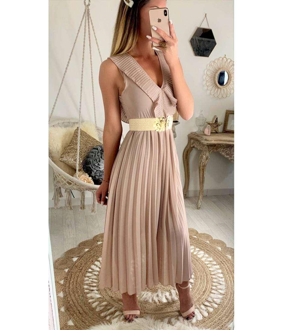 """Ma jolie robe longue rose poudrée """"plissée et col volant"""""""