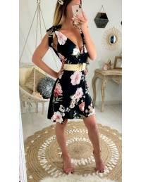 """Ma robe noire pink flowers """"bretelles nouées"""""""