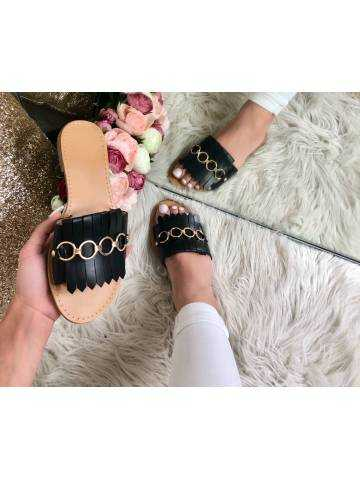 Mes petites sandales noires et franges