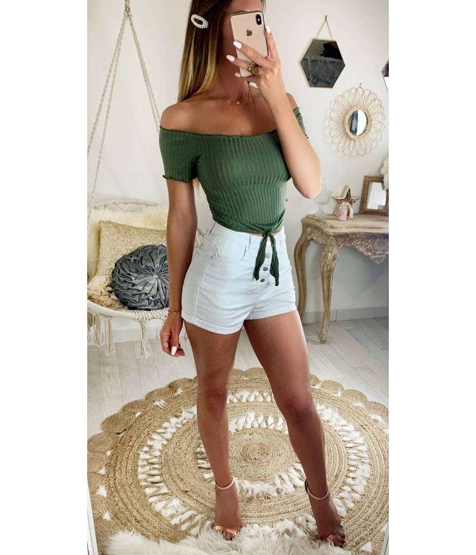 c7d1e20b0d Mon short blanc taille haute et boutonné 2 - MyLookFéminin, Un Look ...