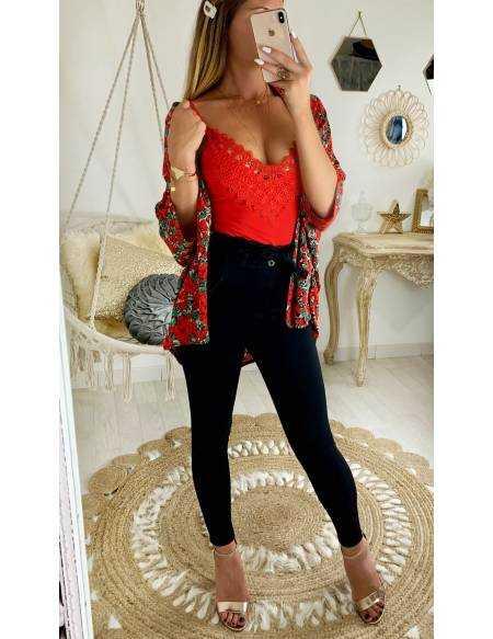 """Mon gilet kimono """" red  flowers"""""""