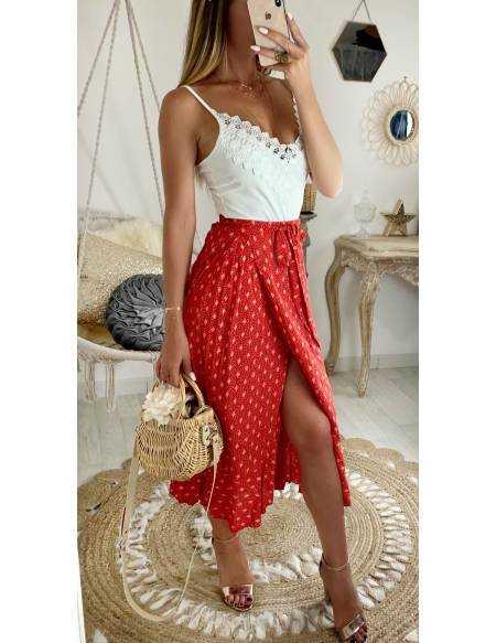 Ma jolie jupe longue rouge & flowers