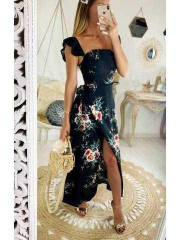 "Ma jolie robe longue noire jolies roses ""bustier"" 2"