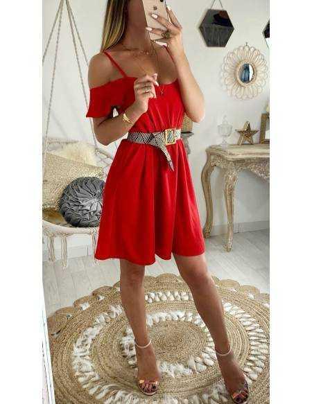 """Ma jolie robe rouge """"bretelles broderies"""""""