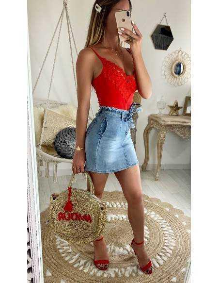 Ma jolie jupe en jeans délavée