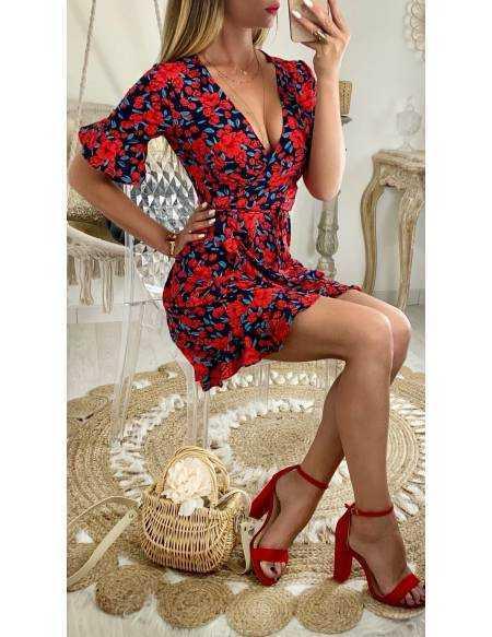 """Ma jolie robe cache coeur """"rouge et fleurs black"""""""